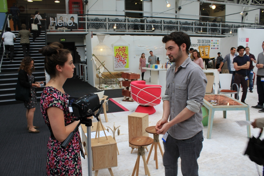 Kellie interviewing New Designers Innovation Winner Luke Diaz